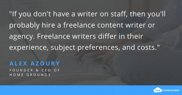 In this quote, Alex Azoury shares that freelancers vary in expertise and cost to create an eBook.
