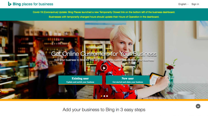 Image showing Bing Places for Business