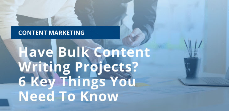 Cover image for article on bulk content creation showing people in background working together