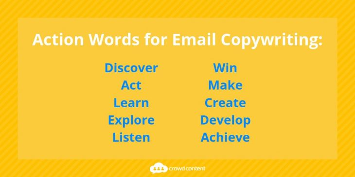 List of action words for email copywriting