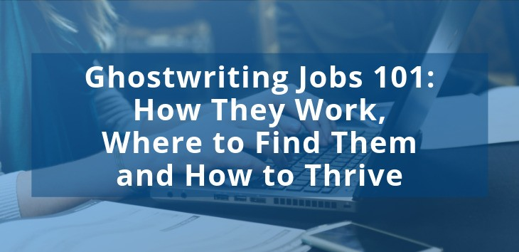 Cover image for post on Ghostwriting Jobs with image of hands typing on laptop in background