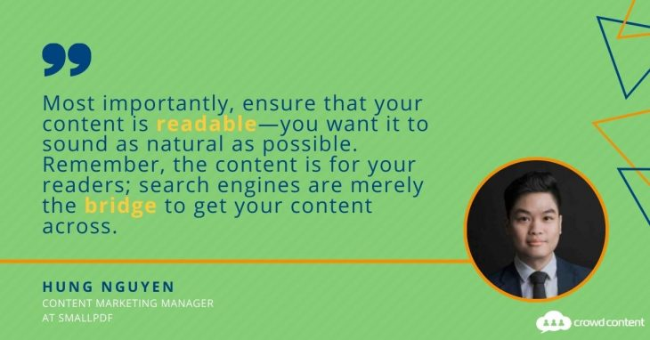 Hung Nguyen of SmallPDF shares advice on content marketing.