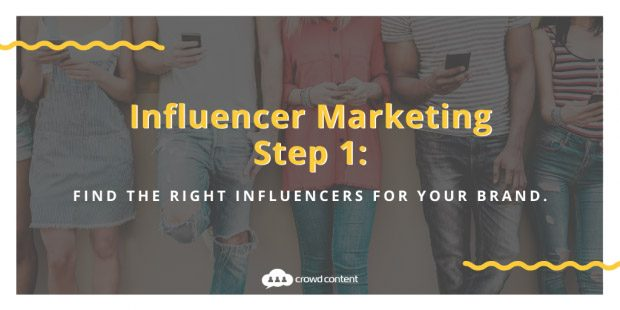 Step 1 of the influencer marketing process with people on their cell phones in the background