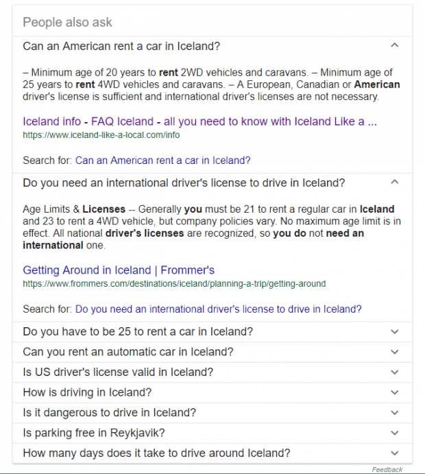 Screenshot of Google results showing people also ask questions in the featured snippets, linking to city pages using schema