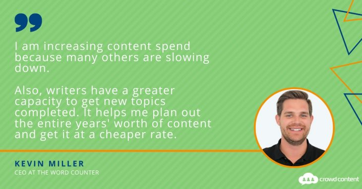 Why Kevin Miller of The Word Counter is increasing content marketing spend