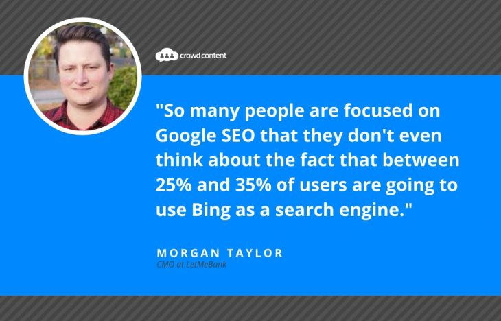 Morgan Taylor LetMeBank Bing SEO Quote