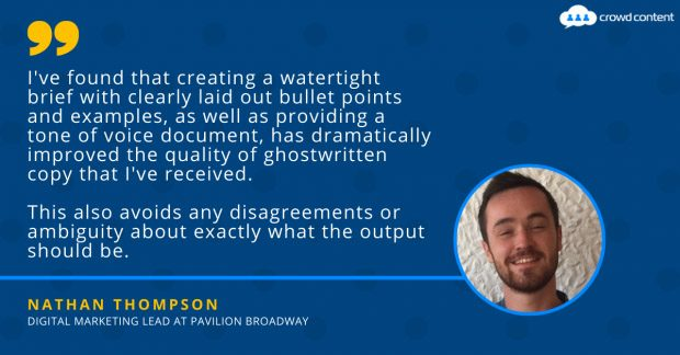 Quote from Nathan Thompson on working with ghostwriters