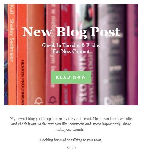 Image showing a new blog post