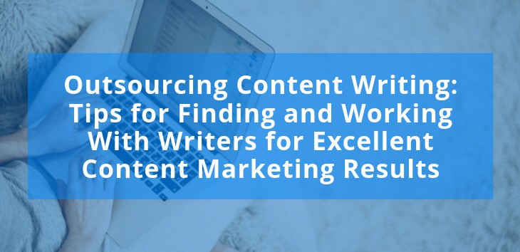 Cover image for article on outsourcing content writing with woman typing on laptop in the background