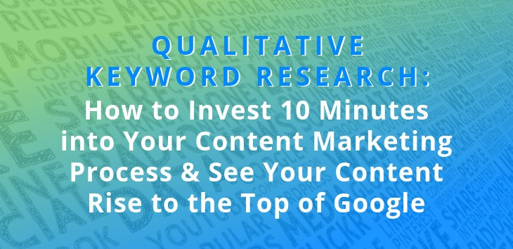 Cover image for article on Qualitative Keyword Research with word cloud in the background