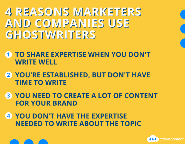 A list of reasons why marketers and companies use ghostwriters