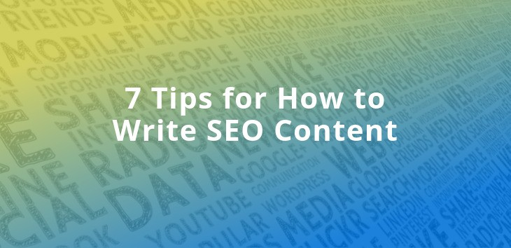 Cover image for blog post on how to write SEO content with various digital marketing words in the background