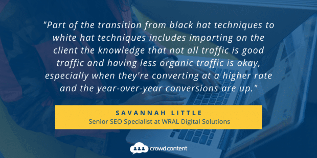 Quote from Savannah Little on Black Hat SEO Techniques