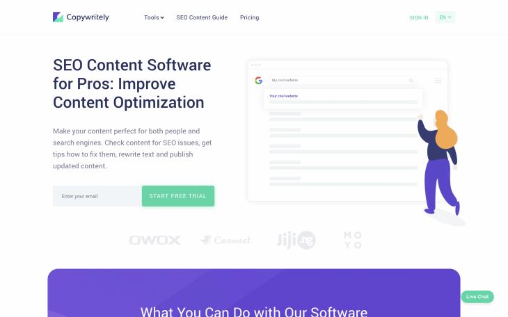 Copywritely homepage