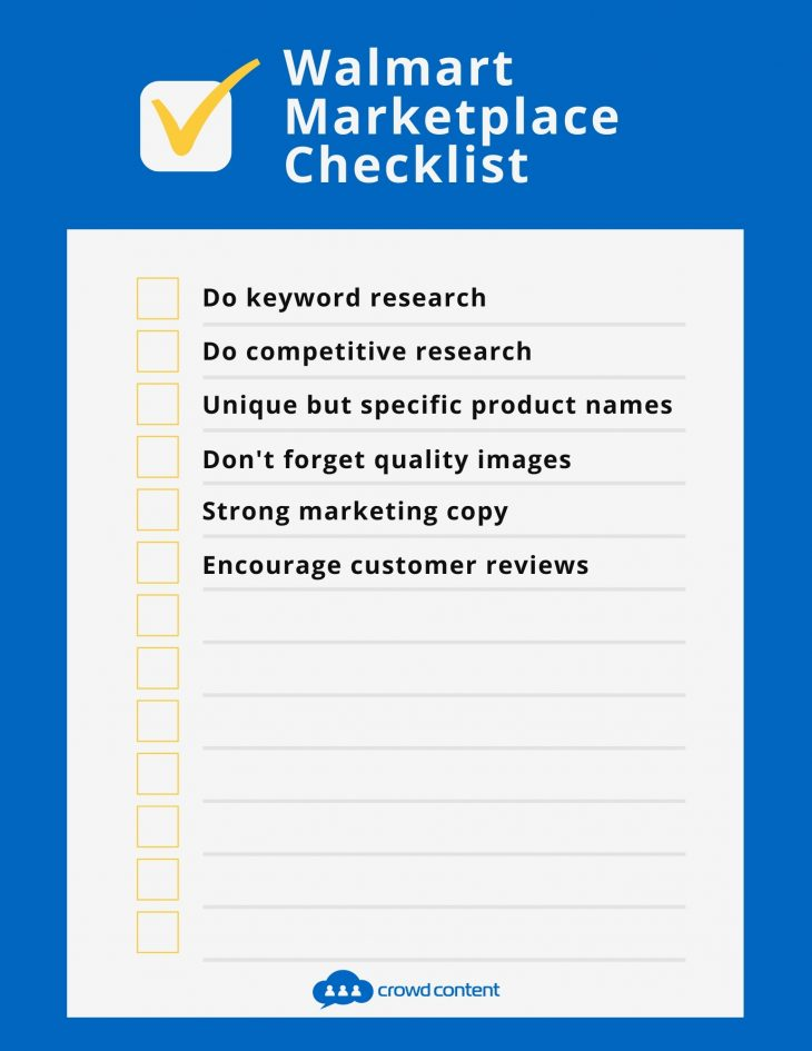 Use this SEO checklist when preparing your products for Walmart Marketplace listings.