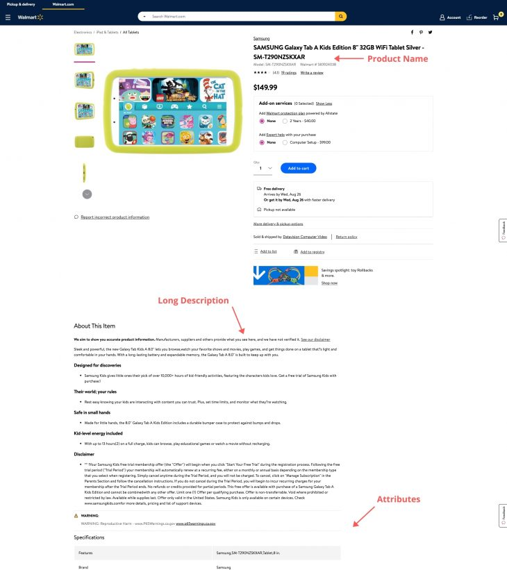 Example of how SEO is used in Walmart Marketplace listings.