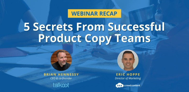 Cover image for webinar recap on tips for writing product copy with headshots of presenters