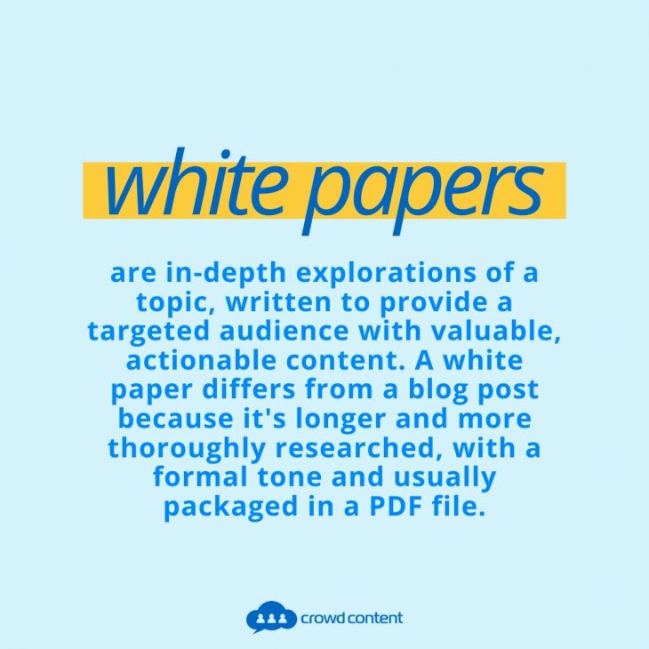This is a text-based image. White Papers is highlighted in yellow, and the definition of a white paper is written below that.