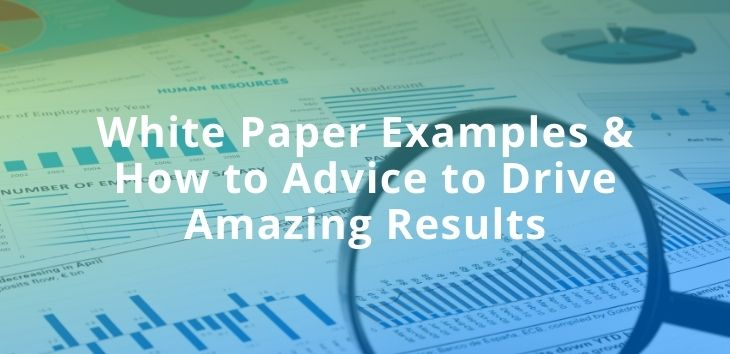 This is an image of paperwork with a heading on top of it. The heading is about White Paper Examples & How to Advice to Drive Amazing Results.