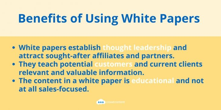 This image describes three reasons why you should use white papers in your content marketing.