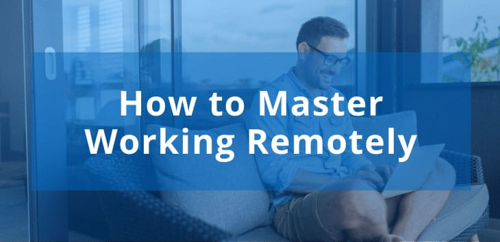 Cover image for article on working remotely with man working on laptop in background