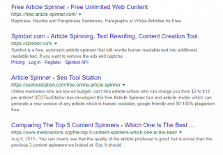 Google search result showing multiple article spinning tools