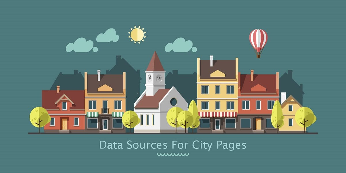 Cover image for post about data sources for city pages, showing an animated city.