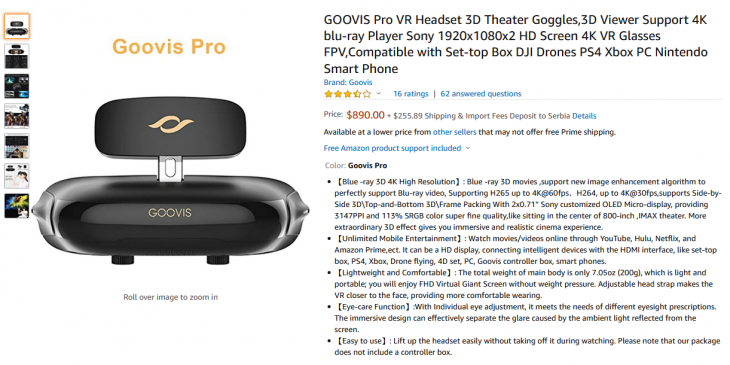 Screenshot of Amazon product page for Goovis Pro VR Headset.