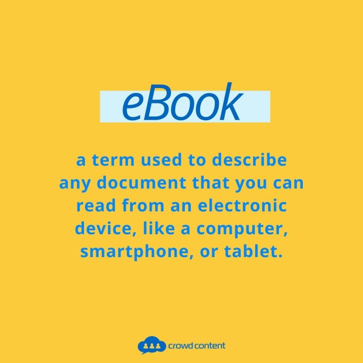What is an ebook? This image shares a definition of an ebook.