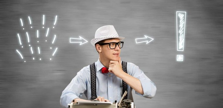 Photo showing a content writing thinking about what qualities he'll need to succeed in 2019