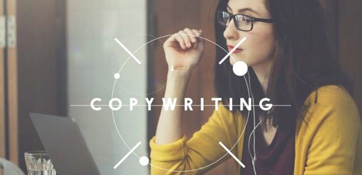 Photo of a copywriter writing copy for a landing page
