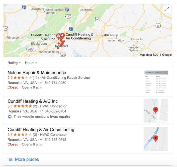 Screenshot showing an example of Google's local pack