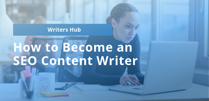 Cover image showing woman learning to be an SEO content writer