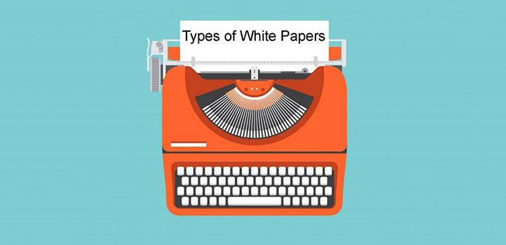 Cover photo (typewriter) for post discussing the different types of white papers businesses can write.